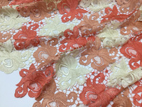 Free shipping(5yards/pc) High quality coral red African cord lace fabric very beautiful guippure lace for party dress CWS36