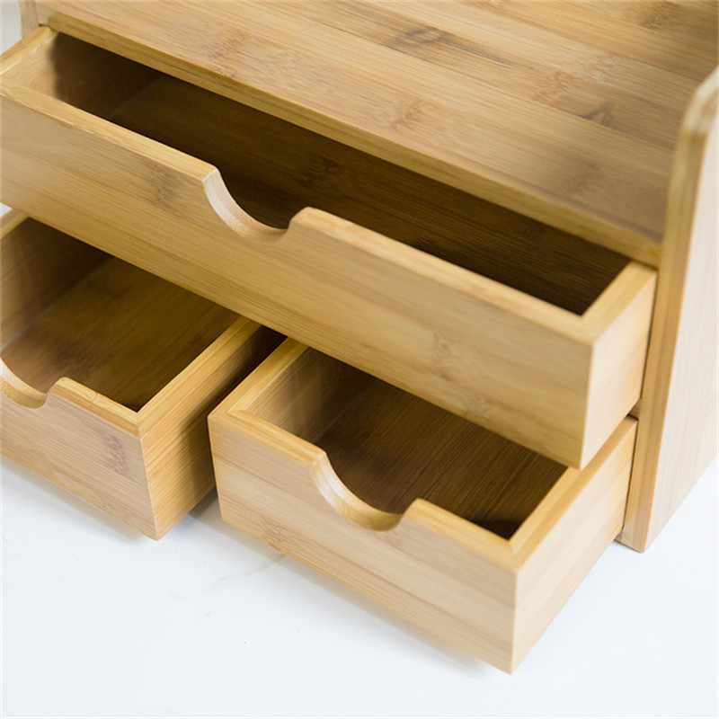 Boîte de rangement de décor domestique tiroir bois organisateur cosmétique tiroirs de maquillage bijoux papeterie boîtes de rangement d'admission - 6