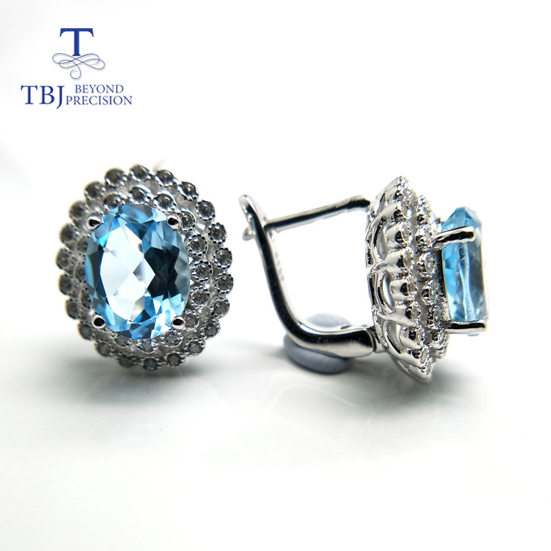 TBJ,4ct up Clasp earring with natural good color topaz in 925 sterling silver jewelry,natural gemstone earring,classic design tbj 2017 clasp earring with natural brazil aquamarine in 925 sterling silver jewelry natural gemstone earring classic design