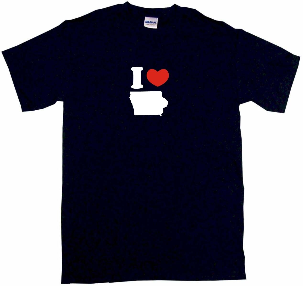 I Heart Love Iowa Silhouette Mens Tee Shirt Pick Size Color Small Cool Funny T-Shirt Men ...