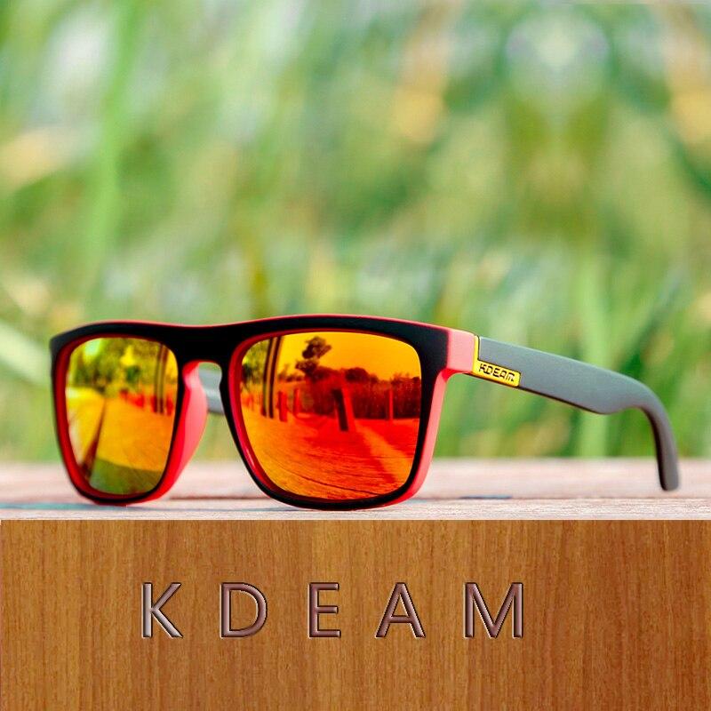 KDEAM Sports Style Polarized Sunglasses Men HD Driving Sun Glasses Ultralight Eyewear Frame Goggle Vintage Male Gafas Sol XH26