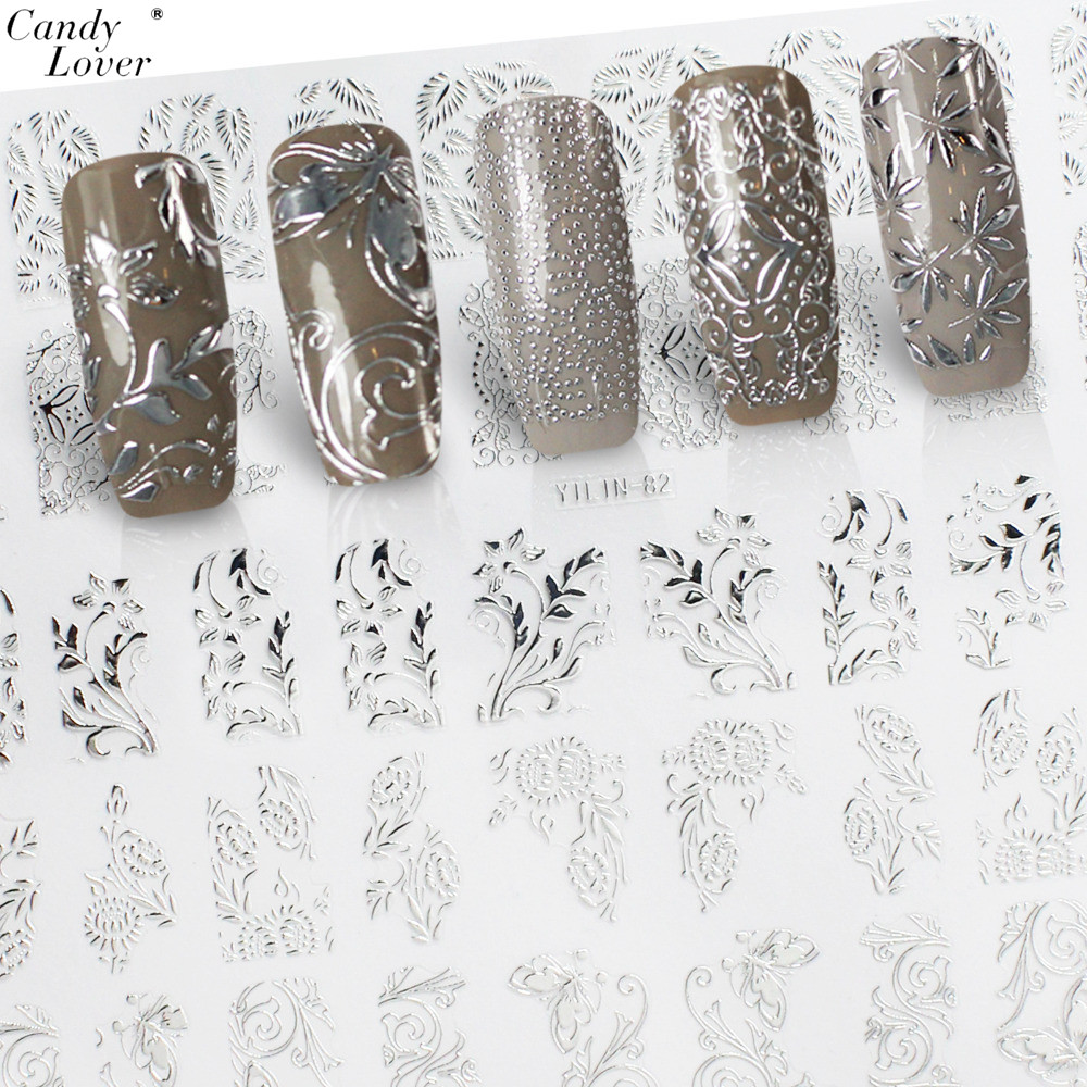 3d Nail Art where to buy 3d nail art supplies : Candy Lover 3D Flower Silver Nail Art Stickers Manicure Decals ...