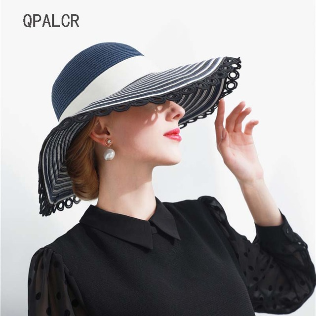 QPALCR Summer Straw Hat Ladies Wide Brim Floppy Beach Hats Women Round  Shade Sun Hats Foldable UV Protect Travel Cap 6ae212b7c8d