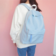 Preppy Style Canvas Summer Backpack For Teenagers Girls Solid Pure Color School Leisure Book Daily College Light Student Bags