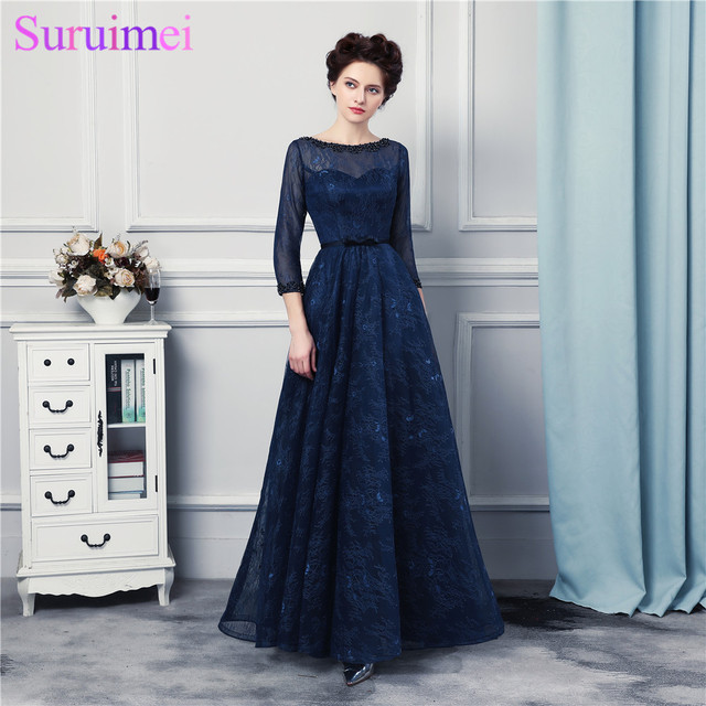 Navy Blue Long Bridesmaid Dresses High Quality Lace Floor Length 3 4 Sleeves Sheer