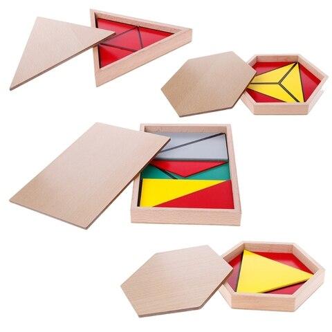 montessori brinquedo material de madeira triangulos construtivos retangulares