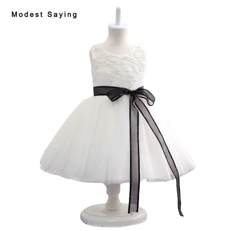 White Lace Flower Girl Dresses 2017 with Black Sash Ball Gown ...