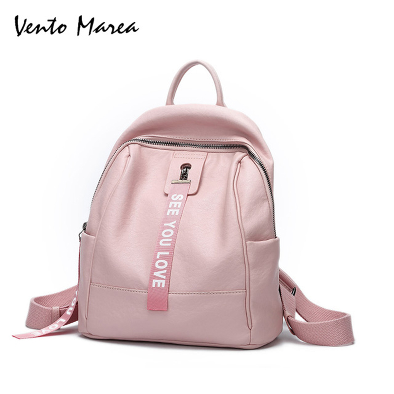 Vento Marea Female Backpacks PU Leather Women Backpacks Casual Daily Backpack Women School Backpacks Mochilas Feminina aeg bss 4818 pink bluetooth аудиосистема