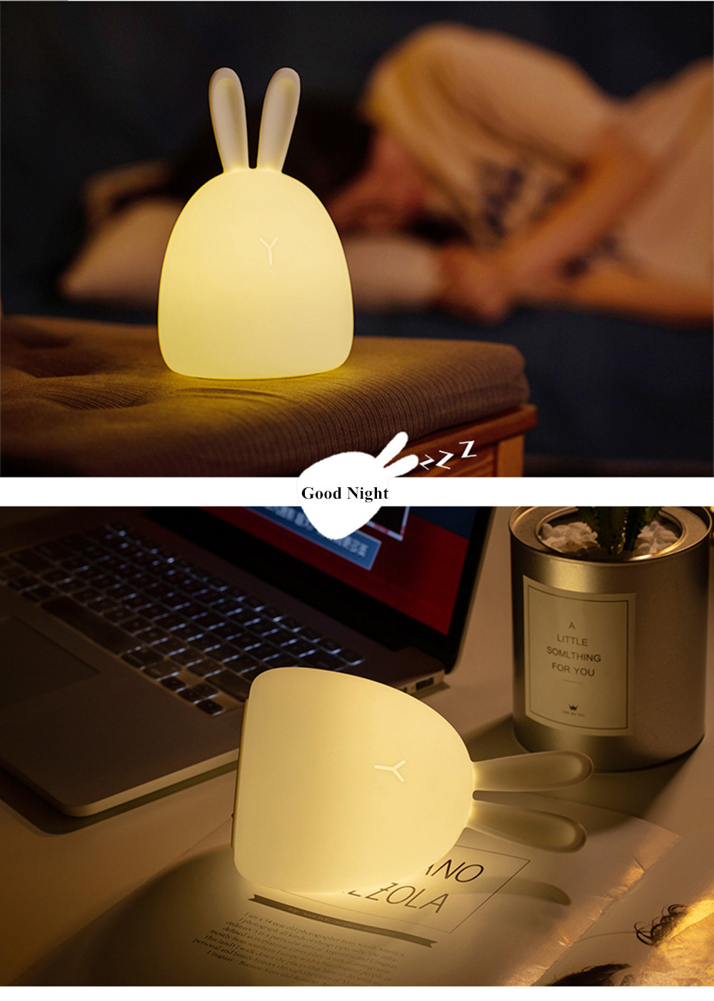 SuperNight Rabbit LED Night Light Vibration Touch Sensor Colorful USB Silicone Bunny Bedside Table Lamp for Children Kids Baby (3)
