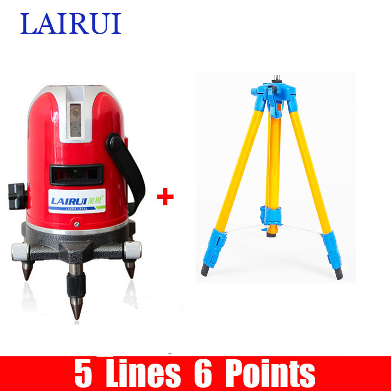 LAIRUI brand 5 lines 6 points laser level 635nm 360 degree rotary cross laser line level with Tilt Slash Function and tripod laser cast line instrument marking device 5 lines the laser level