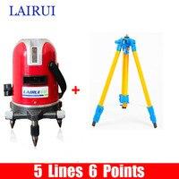 LAIRUI marca 5 linee 6 punti level laser 635nm 360 gradi rotary croce laser a livello di linea con Tilt Slash Funzione e treppiede
