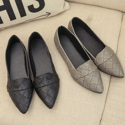 Avec Cuir 2018 En Version Femmes D'été La Coréen Noir gris Chaussures Épais De Une Pointu Seule Rivet prp7Ewq