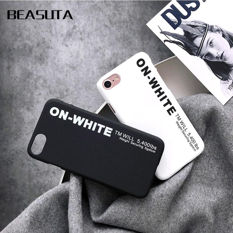 Fashion Protect white phone Case for iphone 6s 6 S 7Plus 8 8plus X Brand Cover Coque funda capa for iPhone X off case kilif iphone 6 plus kılıf