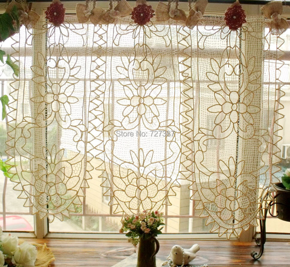 cream curtains lace chic window crochet curtain pin ebay french cafe doilies boho vintage shabby