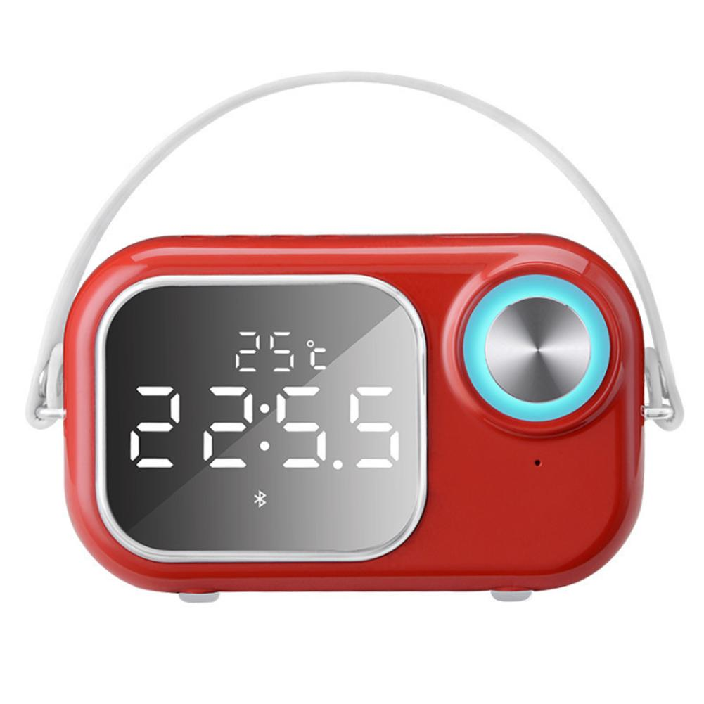 Double Alarm Clock Design Bluetooth Speaker Small Support U Disk TF Card LED Digital Display Mirror Long Standby Time Speaker