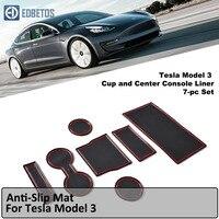 Tesla модель 3 нескользящий коврик для Tesla модель 3 двери groove коврик Tesla 3 Pad подстаканник консоль автомобиля матовое покрытие