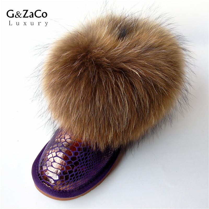 G&Zaco Luxury Women's Natural Real Fox Fur Snow Boots Genuine Leather Short Ankle Boots Fur Boots Female Flat Heel Winter Shoes