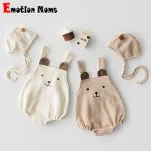 Комплект одежды для малышей на весну и осень, детский хлопковый комбинезон + шапка, детские костюмы из двух предметов, костюм одежды для младенцев