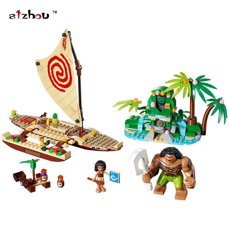 Stzhou 322/221Pcs Moana's Ocean Voyage Friends Model Building Block Toy Maui Princess Moana Compatible Legoing Friends lepin vaiana moana s ocean voyage 322 pcs princess moana 41150 girls friends set models