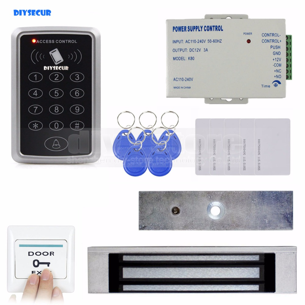 DIYSECUR Full Complete Rfid Card Keypad Door Access Control System Kit + Magnetic Lock for Home Improvement diysecur magnetic lock door lock 125khz rfid password keypad access control system security kit for home office