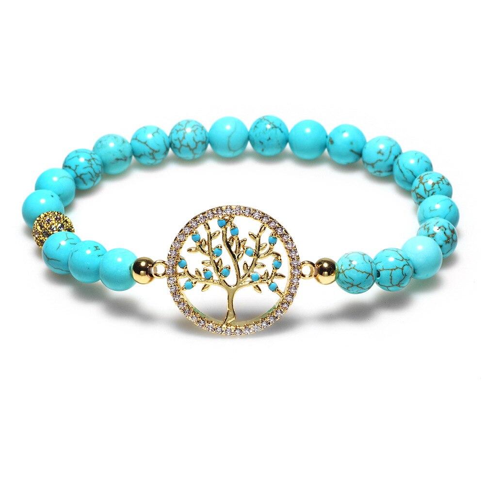 Vintage Natural Stone Tree of Life Elephant Owl Pendant Bead Bracelets Boho Charm Bracelets Bangles Women Men Jewelry