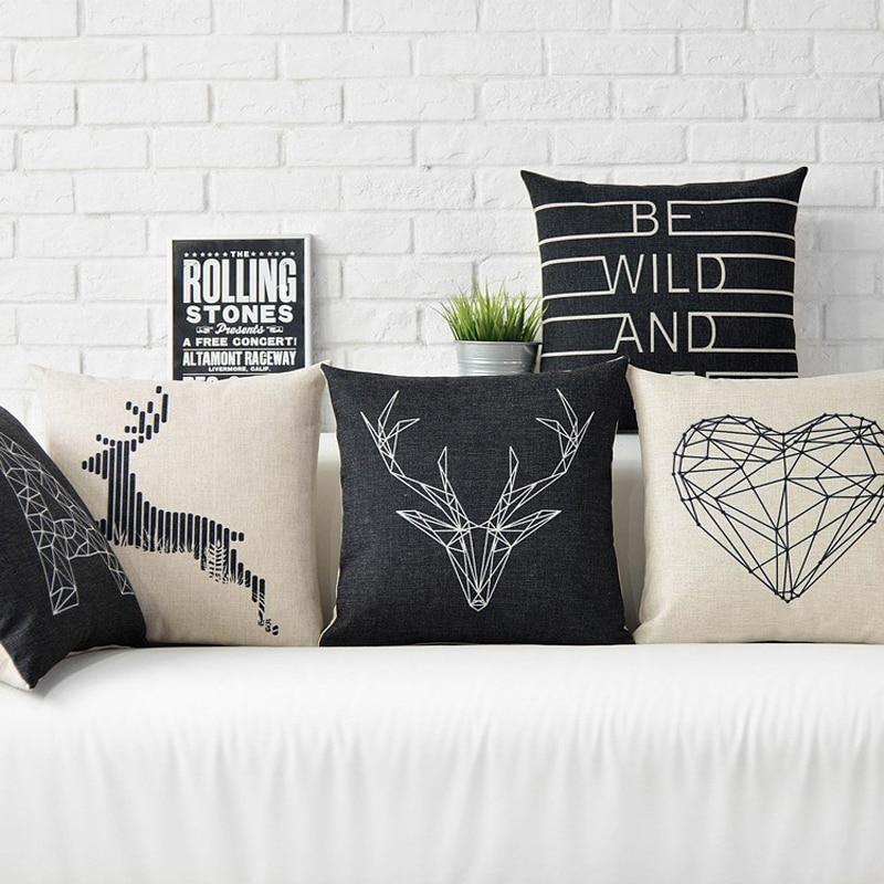 Карикатура животно черно и бяло емотикони възглавница възглавница памук сова елен модел възглавници ленено памук възглавници  t