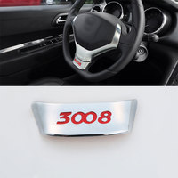 Jameo Auto Car Styling ABS Chrome Steering Wheel Decoration Trim Sticker for Peugeot 3008 2014 2015 2016 Car Accessories
