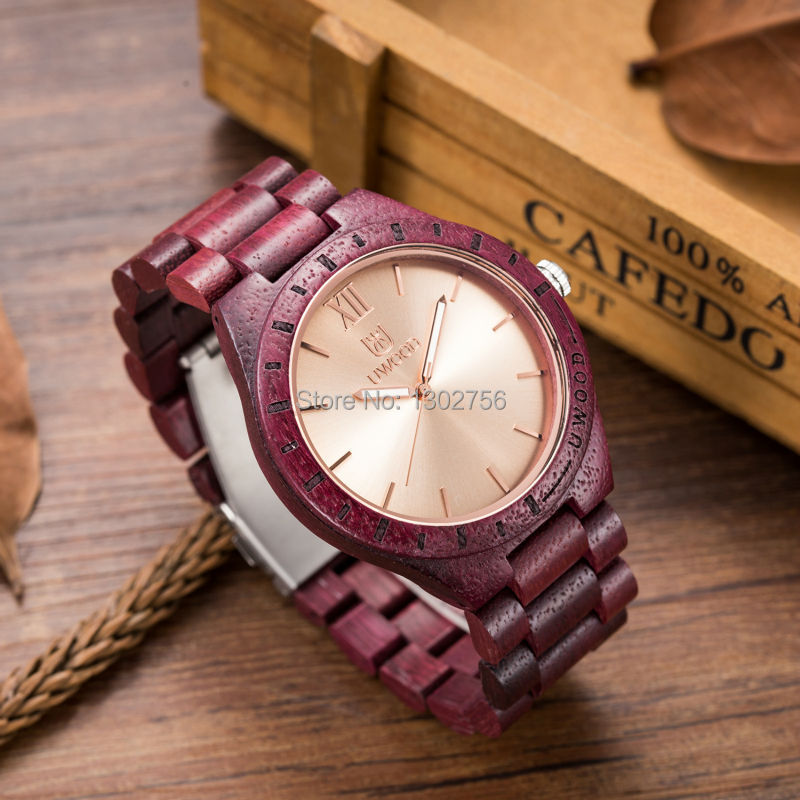 купить Luxury UWOOD Brand Natural Purple Heart Wooden Watch For Men Janpan MIYOTA Movement Wood Watches Dress Wristwatch Gift онлайн