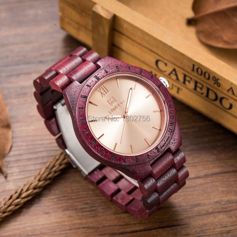 Luxury UWOOD Brand Natural Purple Heart Wooden Watch For Men Janpan MIYOTA Movement Wood Watches Dress Wristwatch Gift