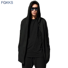 FGKKS Casual Men Hooded Black Gown Sudaderas Hombre Hip Hop Hoodies Sweatshirts long Sleeves Assassins Creed Mens hooded Coat