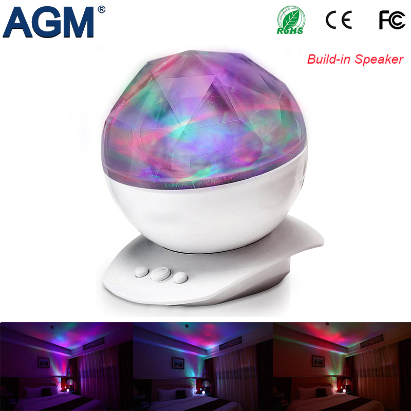 AGM Aurora Sky Cosmos Ocean Wave LED Night Light Starry Master Projector USB Powered Diamond Music Speaker For Bedroom Decor amazing romantic colorful aurora sky holiday gift cosmos sky master projector led starry night light lamp ocean wave projector