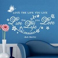 Bob Marley Quote Liefde De Leven U Live Live De Leven u Liefde Citaat Muurtattoo Vlinder Bloem Muurstickers Home Decor woorden