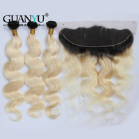 Guanyuhair Malaysian Remy Hair Pre Plucked Ombre #1B/613 Blonde Body Wave Human Hair Bundles With Lace Frontal 13X4 Ear to Ear
