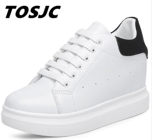 Tosjc 봄 여름 운동화 여성 vulcanize 신발 바구니 화이트 여성 플랫 플랫폼 가죽 신발 zapatillas deportivas mujer07-에서여성 경량 신발부터 신발 의  그룹 1