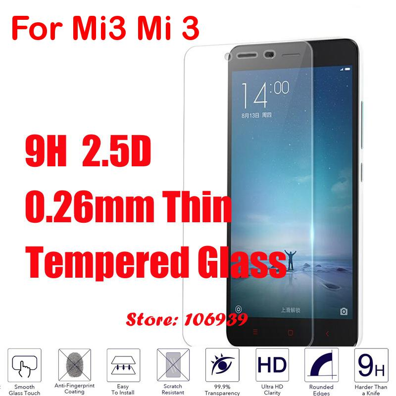 9H Hard Hardness 2.5D 0.26mm Phone Mobile LCD Display Accessories Tempered Glass Cristal Verre For Xiaomi Xiaomo Mi3 Mi 3