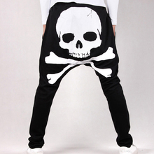 Fashion 2017 summer male casual pants Harem mens fashion men fork skull low block large crotch Dance Sweatpants