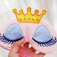 Lovely Pink/Blue Crown Sleeping Mask Crown Eyeshade Eye Cover Travel Cartoon Long Eyelashes Blindfold Travel Accessories Bag Parts & Accessories