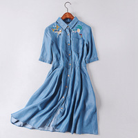 Soft tattoo heavy rubber embroidery summer lapel single breasted short sleeved dress female