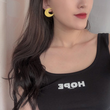 Korean resin yellow moon earrings simple small ins web celebrity temperament girl