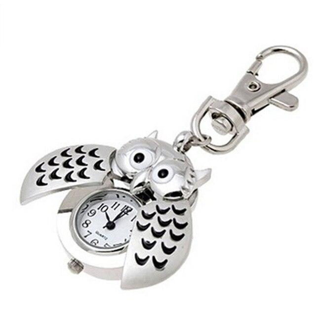 Fashion 2019 New Mini Metal Key Ring owl double open Quartz Watch Clock- Silver