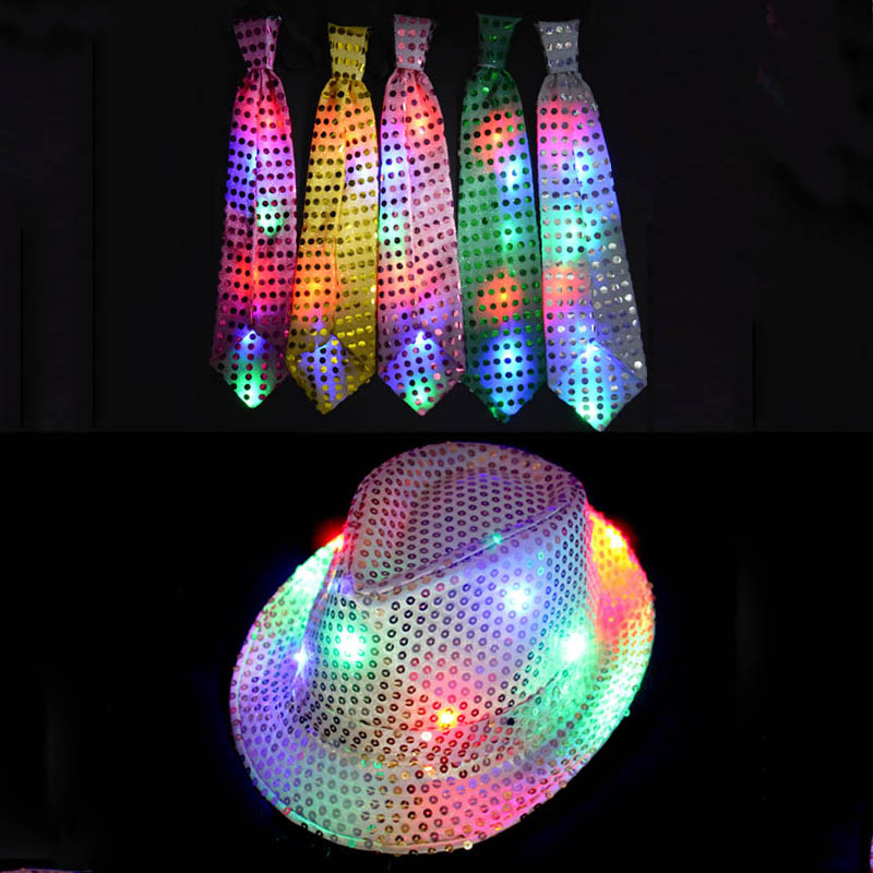 Cool Sequins Light LED Neck Tie Hip Hop Jazz Hats Cap Flashing Party Supplies Wedding Decoration for Woman Man Children