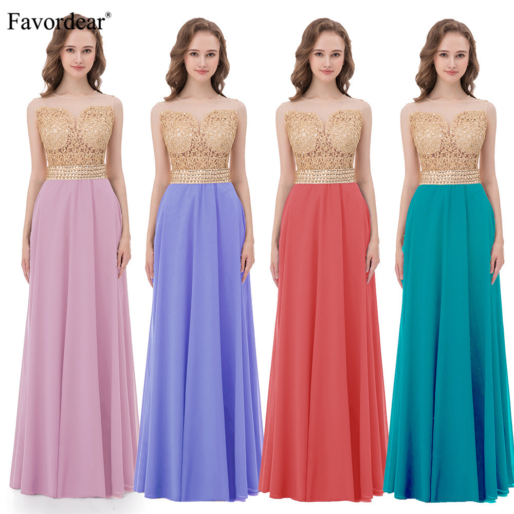 Favordear 2018 New 28 colors Fashion Bridesmaid Dresses Chiffon With Lace Top Beaded Waist Bridesmaid Dresses