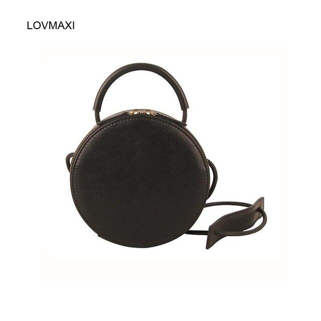 LOVMAXI 2018 women s round bags leather circle box handbags messenger bag  for lady causal shoulder bags portable bag