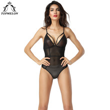 TOPMELON Mulheres Underwear Modelagem Alça Tops Magro Shapewear Corpo Shaper Bodysuit Sexy Oco Out Malha Lingerie Transparente