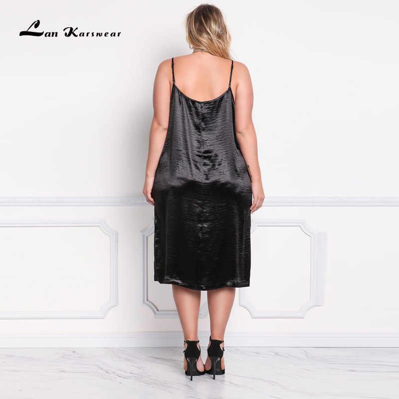 Lan Karswear 2018 lato Sexy dekolt w szpic Spaghetti pasek klub nocny Party suknie Plus Size kobiety odzież duży rozmiar
