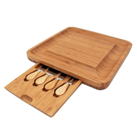 New Natural Bamboo Cheese Board Cutlery Knife Set With Slide Out Drawer Wooden Platter 4 Small Cutting Knives With Wood Handle