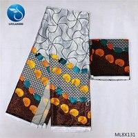 LIULANZHI Prints Fabric Soft Silk Wax Satin Fabric Polyester 2019 African Prints Fabric Silk ML8X131