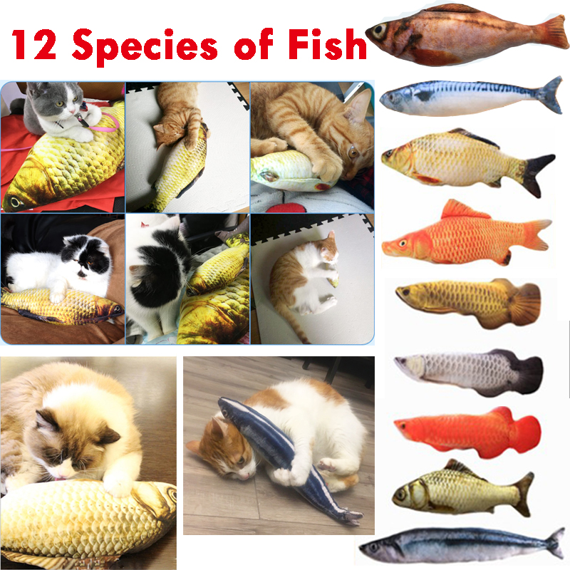 12 Style 3D Artificial Fish Plush Cat Catnip Toys Pet Cat Dog Chew Scratch Pillow Toys Sleeping Cushion Gadget