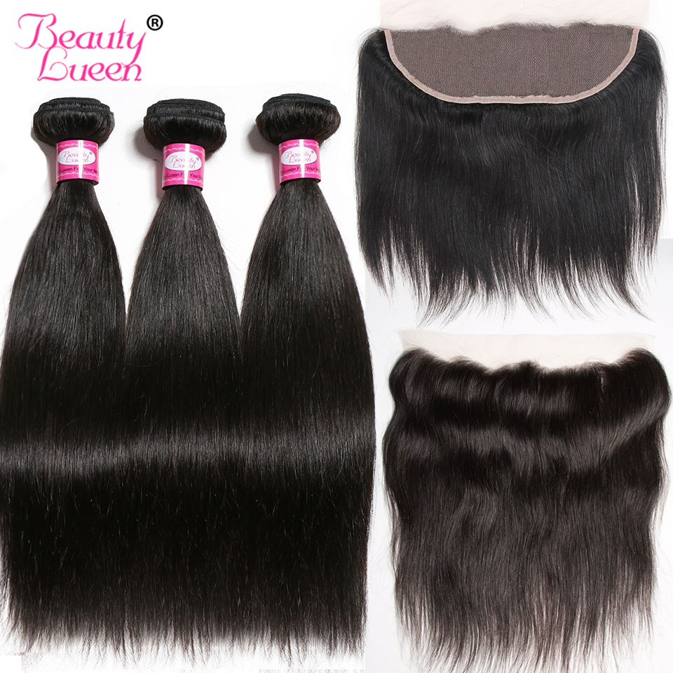 Lace Frontal Closure With Bundles Brazilian Straight Human Hair Weave 3 Bundles With 13*4 Frontal  Remy Beauty Lueen Hair