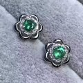 natural green emerald earrings 925 silver Natural gemstone earring women Elegant fashion flowers earrings for anniversary